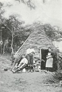 Old photograph of a charcoal burner's hut