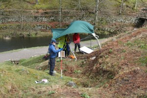 Gazebo malfunction at Loughrigg Terrace, by the side of Grasmere Tarn