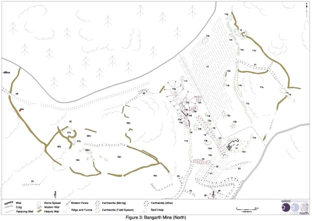Part of the detailed topographic survey of Bangarth Mine, Eskdale