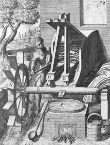 Drawing of a fulling mill taken from Theatrum Machinarum Novum (1661)