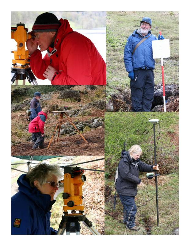 Montage of volunteers surveying on the Windermere Reflections project 2012