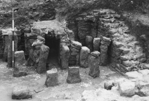 The 1970s excavations in the bath house caldarium (Lancaster Museum)