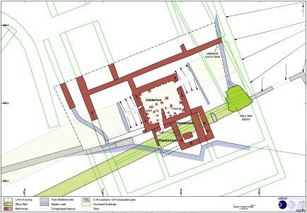 Detailed survey of the Wery Wall and Roman Bath House, Castle Hill, Lancaster