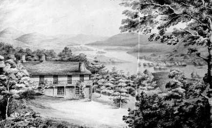 Watercolour view of the St Catherine' cottage overlooking Lake Windermere, c1850s