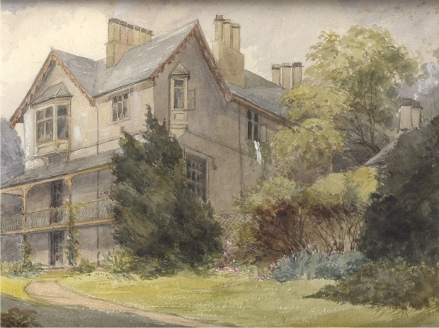 Watercolour view of the house and formal garden at St Catherine's Estate, c1900