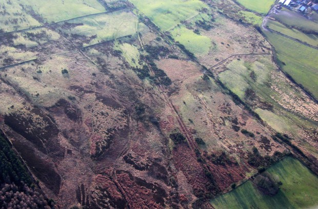 Aerial view of the cairnfield and linear boundary at Eden House